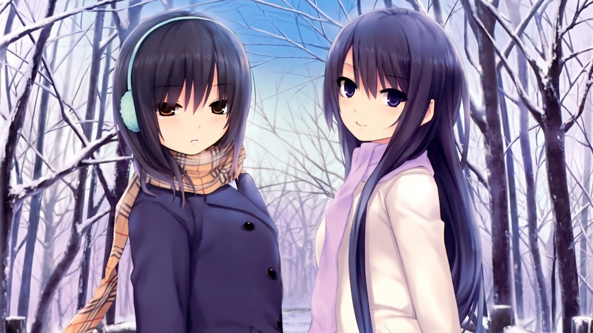 Картинки двое девушек осень и зима