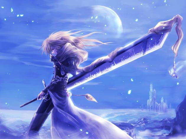 Konachan.com - 136269 blonde_hair kashin_reina long_hair moon pixiv_fantasia red_eyes sword weapon