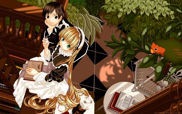 Konachan.com - 145179 animal bird blonde_hair book brown_eyes brown_hair flowers gosick goth-loli green_eyes headdress kujou_kazuya leaves long_hair vector