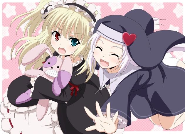 Konachan.com - 148372 2girls bicolored_eyes blonde_hair boku_wa_tomodachi_ga_sukunai hasegawa_kobato nun tagme_(artist) takayama_maria white_hair