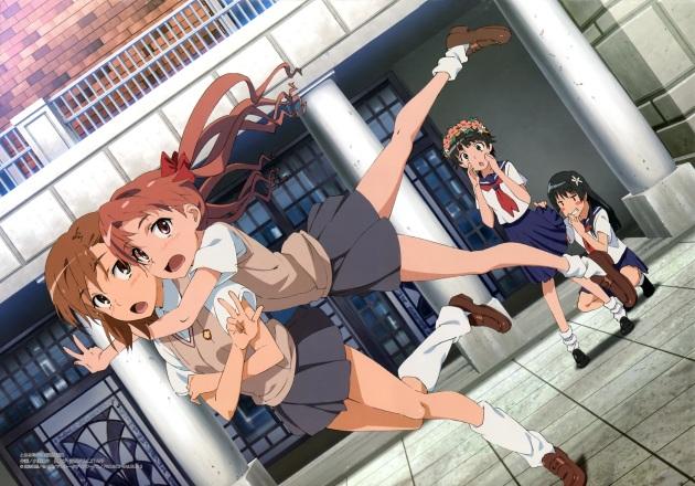 yande.re 268944 misaka_mikoto obuchi_yousuke saten_ruiko seifuku shirai_kuroko skirt_lift to_aru_kagaku_no_railgun to_aru_majutsu_no_index uiharu_kazari yuri