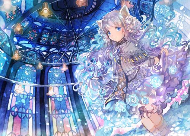 Konachan.com - 193685 animal_ears blue_eyes boots catgirl dress gray_hair kneehighs long_hair original rioka_(southern_blue_sky) skirt wristwear